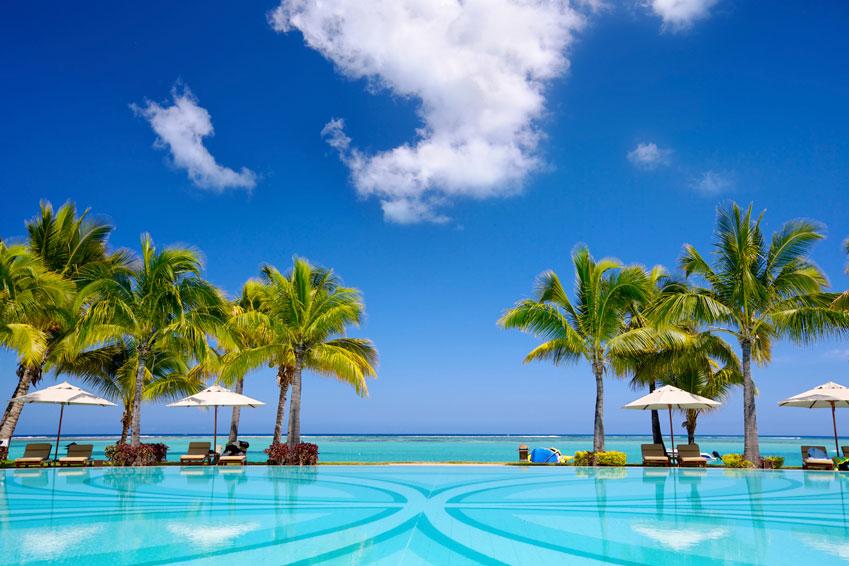 Het prachtige uitzicht over de kust van Mauritius