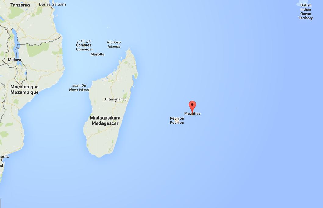 Kaart en plattengrond van waar ligt mauritius