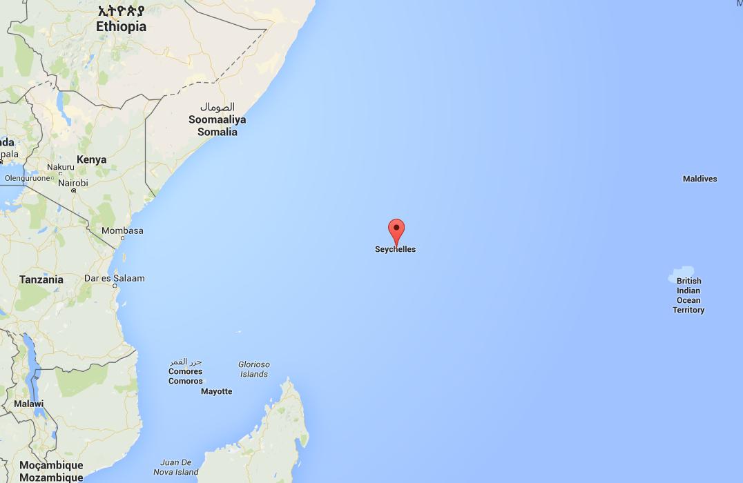 Een plattegrond en Seychellen op de kaart