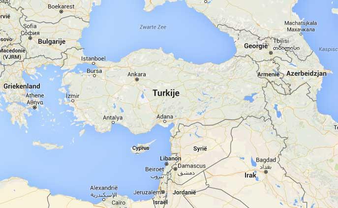 Turkije map en ligging
