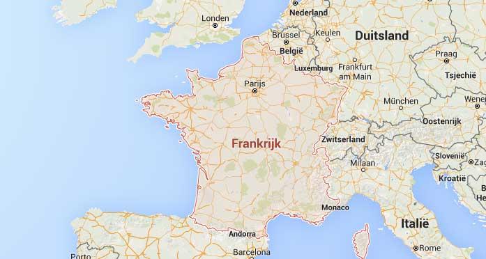 Ligging Frankrijk op de kaart